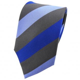 TigerTie Seidenkrawatte blau hellblau anthrazit gestreift - Krawatte Tie Seide
