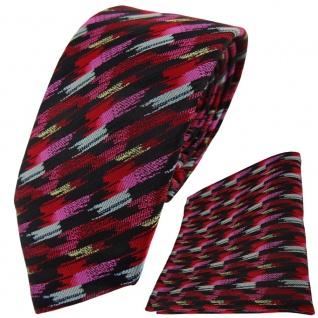 TigerTie Krawatte + Einstecktuch in rosa rot silber schwarz gold gestreift