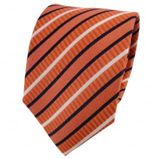 TigerTie Seidenkrawatte orange blau weiß gestreift - Krawatte 100% Seide