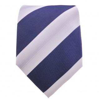 Designer Krawatte blau dunkelblau saphirblau grau gestreift - Schlips Binder Tie - Vorschau 2