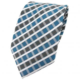 TigerTie Designer Krawatte in türkis grau silber weiss gestreift - Tie Binder
