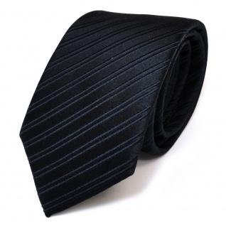TigerTie Seidenkrawatte blau dunkelblau schwarzblau gestreift - Krawatte Seide