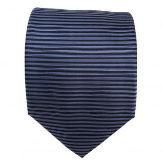 Designer Seidenkrawatte blau hellblau fernblau schwarz gestreift- Krawatte Seide - Vorschau 3