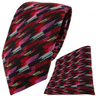 TigerTie Krawatte + Einstecktuch in rosa rot silber gold schwarz gestreift