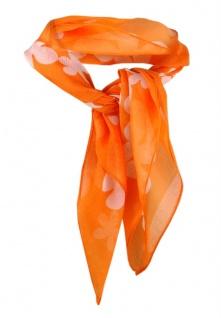 Nickituch Chiffon orange weiss mit Blumenmuster - Gr. 50 x 50 cm - Tuch Halstuch