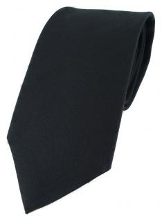 TigerTie Designer Krawatte schwarz Uni - 100% Baumwolle - Krawattenbreite 8 cm
