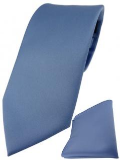 TigerTie Designer Krawatte + TigerTie Einstecktuch in pastellblau einfarbig uni