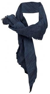 TigerTie Halstuch in dunkelblau einfarbig mit kleinen Fransen - Gr. 90 x 90 cm