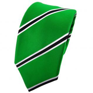 Enrico Sarto Seidenkrawatte grün schwarz weiß gestreift - Krawatte Seide Tie