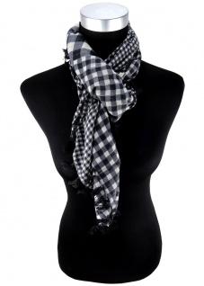Halstuch schwarz grau silber Glitzerfaden (Lurex) kariert - Fransen an den Ecken