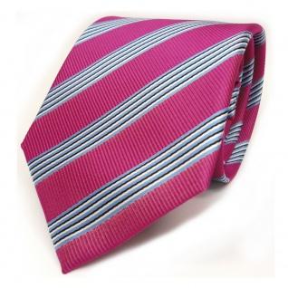 TigerTie Designer Krawatte pink blau schwarz weiss gestreift