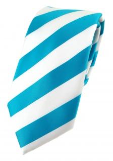 TigerTie Designer Krawatte in türkis weiss gestreift