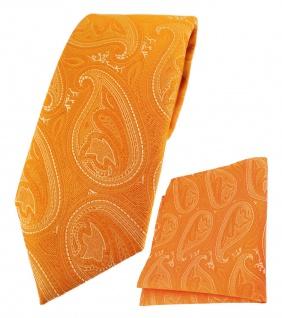 TigerTie Designer Krawatte + Einstecktuch in orange silber Paisley gemustert