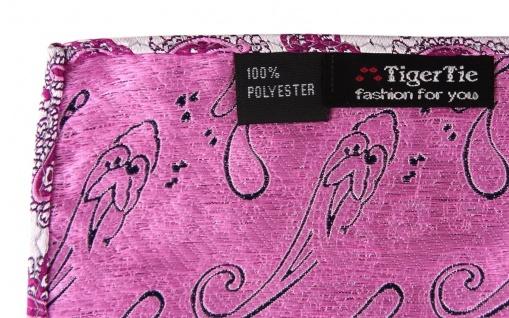 TigerTie Designer Einstecktuch magenta silber Paisley gemustert - Gr. 30 x 30 cm - Vorschau 3
