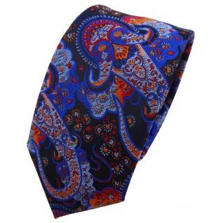 Schmale TigerTie Krawatte blau dunkelblau orange rot Paisley - Binder Tie