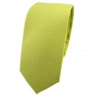 schmale TigerTie Designer Krawatte helles gelbgrün uni-gemustert - Tie Binder