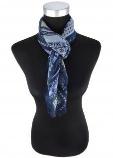 Halstuch in blau dunkelblau beige gemustert mit kleinen Fransen - 90 x 90 cm
