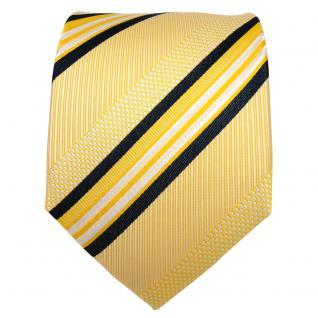 TigerTie Designer Seidenkrawatte gelb weiß schwarz gestreift - Krawatte Seide - Vorschau 2