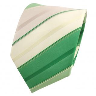 TigerTie Krawatte grün laubgrün grasgrün beige champagner gestreift - Binder Tie