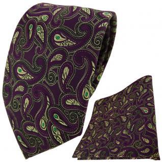 TigerTie Krawatte + Einstecktuch in lila gold schwarz grün Paisley
