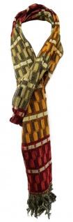 TigerTie Designer Schal in orange rot beige olive gemustert mit Fransen