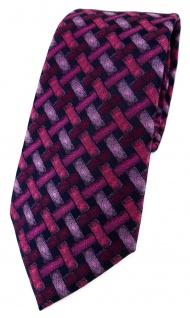 TigerTie Designer Krawatte in rose rosa weinrot schwarz - Motiv Flechtmuster