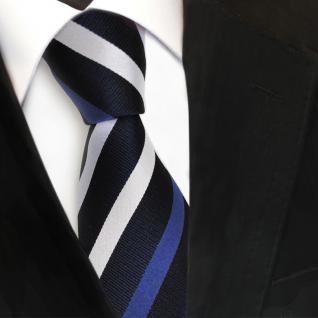 Designer Seidenkrawatte blau silber schwarz gestreift - Krawatte Seide Binder