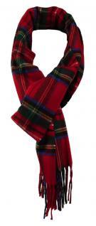 Feiner TigerTie Designer Schal in rot blau gelb grün grau kariert - Cashmink