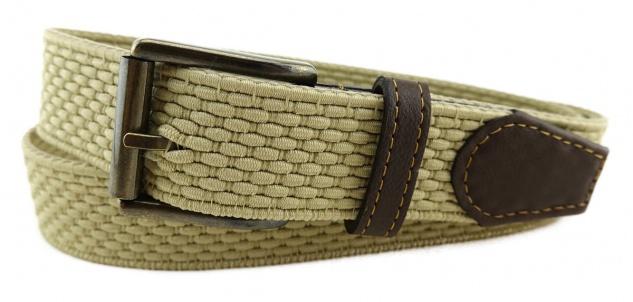 TigerTie - Stretchgürtel in beige elfenbein einfarbig - Bundweite 110 cm