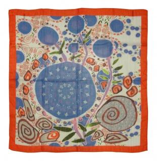 Halstuch in blau orange lila grün rosa grau gemustert - Gr. 100 x 100 cm