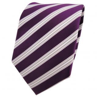 Designer Krawatte lila pflaume violett silber weiß gestreift - Schlips Binder