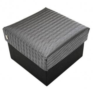 3er Set TigerTie Krawatte + Einstecktuch + Box in grau silber gestreift - Vorschau 2