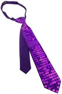 Schmale vorgebundene Kinderkrawatte in violett mit aufgenähten Pailletten