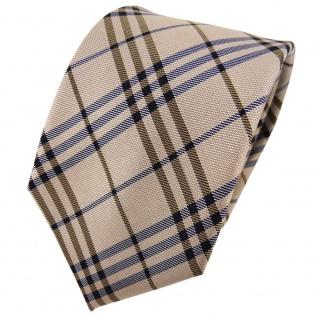 TigerTie Seidenkrawatte gold beige dunkelblau kariert - Krawatte Seide Tie