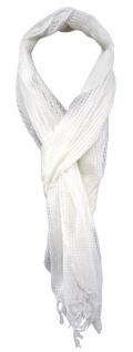TigerTie Netzschal in weiß creme einfarbig mit Fransen - Gr. 180 x 40 cm - Vorschau