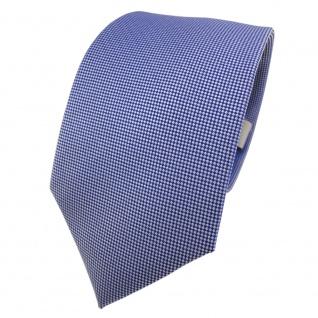Designer Krawatte blau signalblau silber gepunktet - Schlips Binder Tie