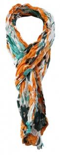 TigerTie Designer Schal in orange mint dunkelgrün grau gemustert