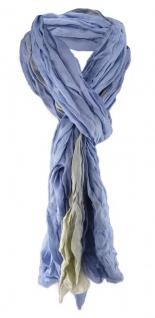 gecrashter Schal in blau grünolive zweifarbig - Gr. 180 x 50 cm - 100% Viscose