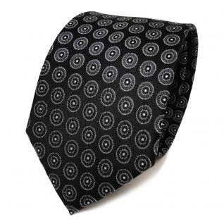 TigerTie Designer Seidenkrawatte schwarz anthrazit silber gepunktet