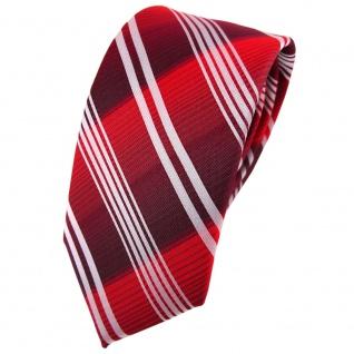 Schmale TigerTie Krawatte rot verkehrsrot bordeaux silber gestreift - Binder Tie