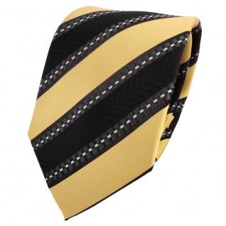 Designer Krawatte gold schwarz anthrazit silber gestreift - Schlips Binder Tie