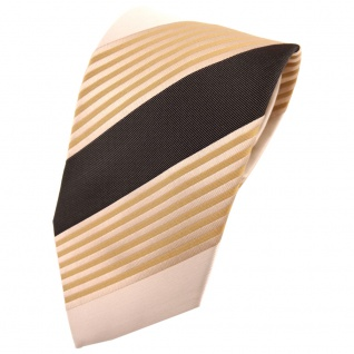 TigerTie Krawatte beige braun dunkelbraun elfenbein gestreift - Tie Binder