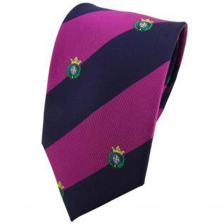 TigerTie Seidenkrawatte lila dunkelblau grün gold gestreift Wappen - Krawatte