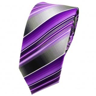 schmale TigerTie Designer Krawatte in lila flieder anthrazit silber gestreift
