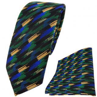 schmale TigerTie Krawatte + Einstecktuch grün blau gold schwarz gestreift - Vorschau