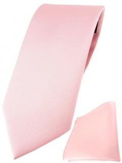 TigerTie Designer Krawatte + TigerTie Einstecktuch in rosa einfarbig uni