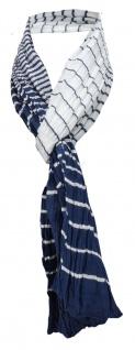 Schal in dunkelblau marine weiss gestreift - Tuch 100% Baumwolle Gr. 165 x 50 cm