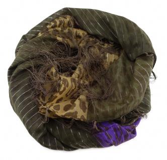 Halstuch in braun dunkelbraun violett Glitzerfaden gemustert mit langen Fransen