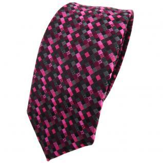 schmale TigerTie Krawatte lila magenta pink schwarz anthrazit grau gemustert