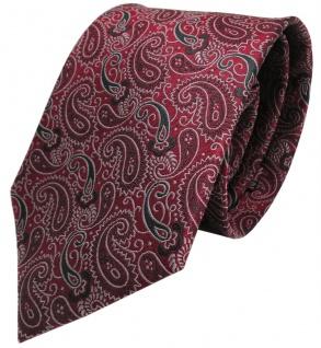 Seidenkrawatte rot weinrot anthrazit silber paisley gemustert - Krawatte Seide